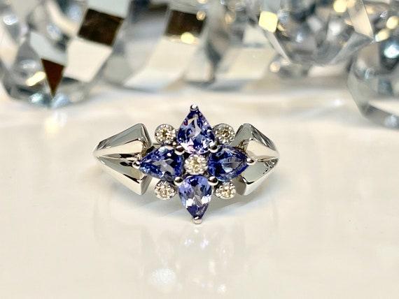 Vintage White Gold Tanzanite and Diamond Ring, Vi… - image 6