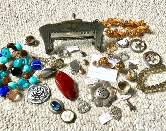 Bits and Pieces of Jewelry, Bracelet, Broken Purse Frame German Silver, Sterling Earrings, Sterling Ring, Up-Cycle Jewelry