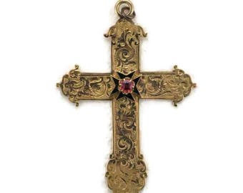 Victorian 14 Karat Yellow Gold Hand Engraved Cross, Vintage Garnet Cross, Cross with Garnet and Black Enamel, Victorian Engraved Cross