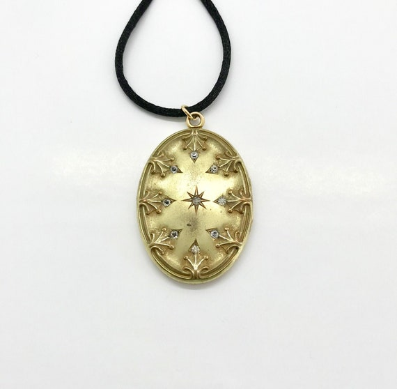 Gold Filled Large Oval Locket with Rhinestones, Ov