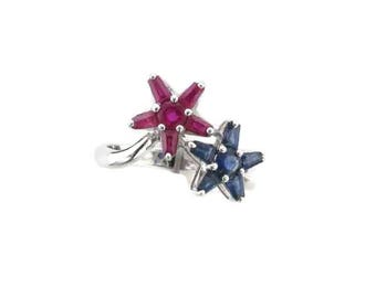 14 Karat White Gold Ruby and Sapphire Ring in Bypass Floral Design, Ruby Flower Ring, Sapphire Flower Ring, Ruby and Sapphire Ring