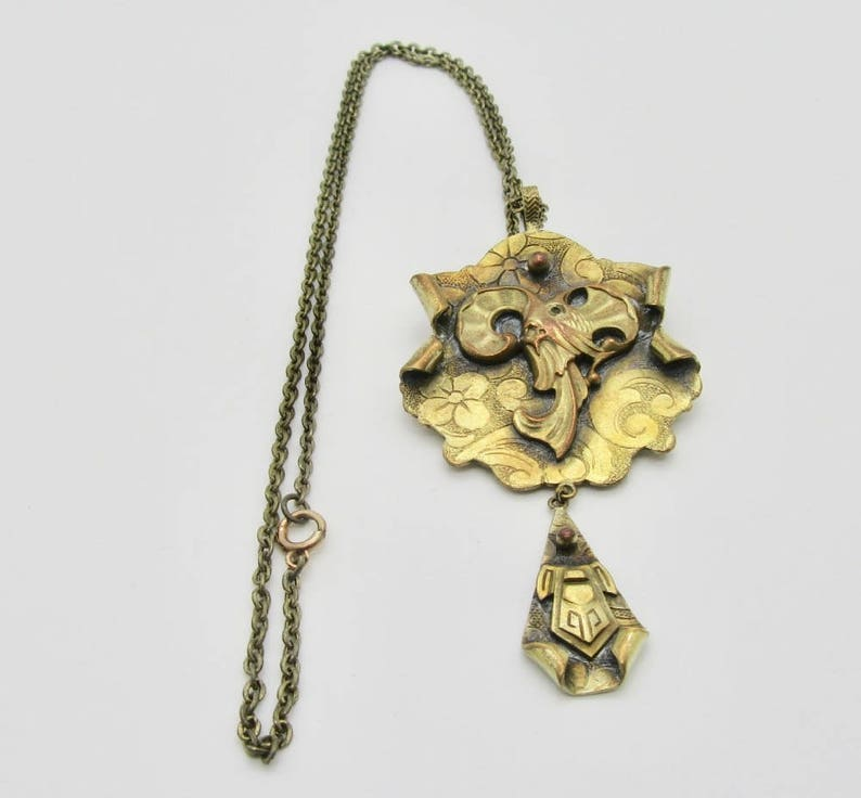 Art Deco Style Necklace Greek Revival Jewelry Animal Necklace Elk Necklace Brass Necklace Pin and Necklace Elk or Ram Necklace