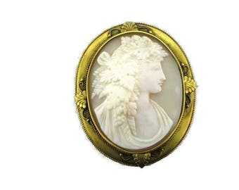Cameo Pin; Cameo Pendant; Victorian Pin; Victorian Pendant; Victorian Cameo; Cameo; Victorian Jewelry; Etruscan Gold Frame; Etruscan Cameo