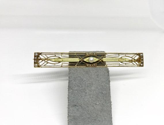 Yellow Gold Enamel and Filigree Bar Pin, Enamel Ba