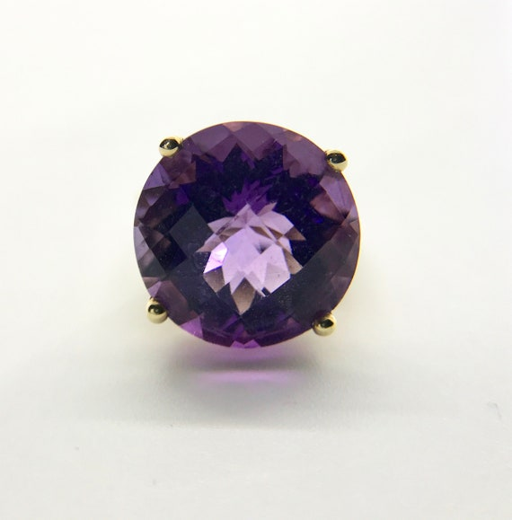 Yellow Gold Amethyst Ring, Vintage Amethyst Ring,