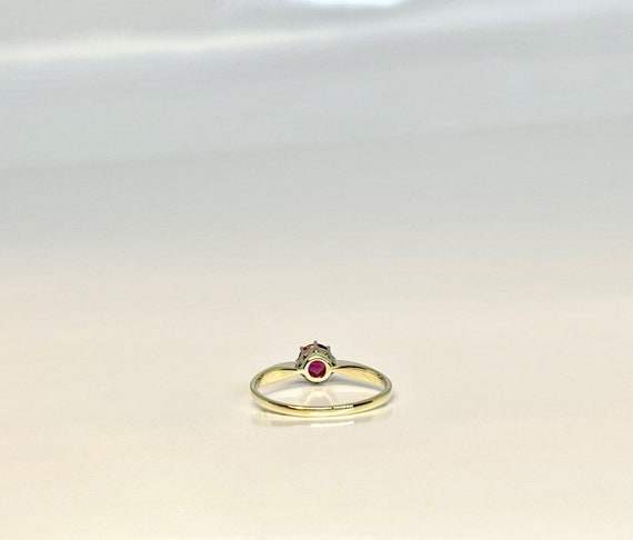 Vintage Yellow Gold Pink Tourmaline Solitaire Rin… - image 7
