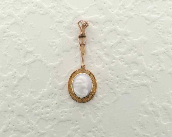 Cameo Drop Pendant in 10 Karat Yellow Gold with Filigree Mounting