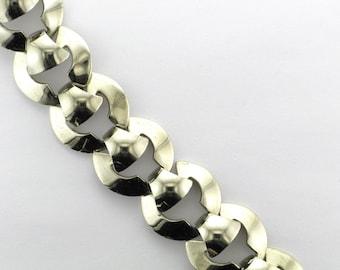 Art Deco Style White Metal Bracelet Signed Marino; Fun Bracelet; Everyday Bracelet