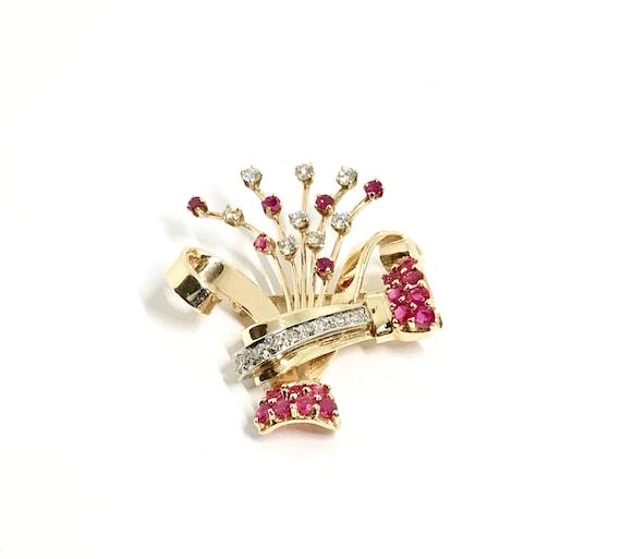 Retro Ruby and Diamond Brooch, Vintage Diamond an… - image 2