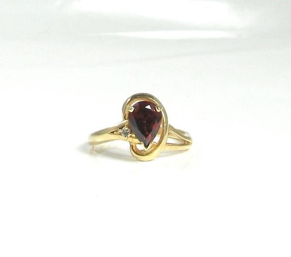 Garnet and Diamond Ring, Pear Shaped Garnet Ring,
