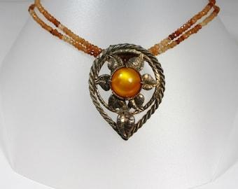 Re-purosed Vintage Shoe Clip Necklace; Re-cycled Vintage Shoe Clip Necklace; Citrine Necklace; Citrine Shoe Clip Necklace