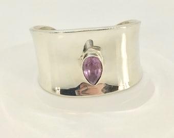 Sterling Silver Cuff Bracelet, Cuff Bracelet with Amethyst, Sterling Silver Cuff Bracelet Stamped Mexico, Cuff Bracelet
