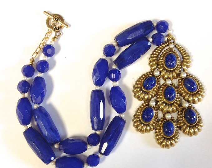 """Vintage Faux Lapis and Pearl Pendant with Blue Faceted Bead Necklace Signed """"Original Robert"""";"""