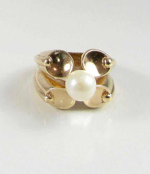 Yellow Gold Pearl Ring, Estate Pearl Ring, Moderni