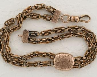 Ladies 14 Karat Yellow Gold Victorian Bracelet with Hand Engraved Slide
