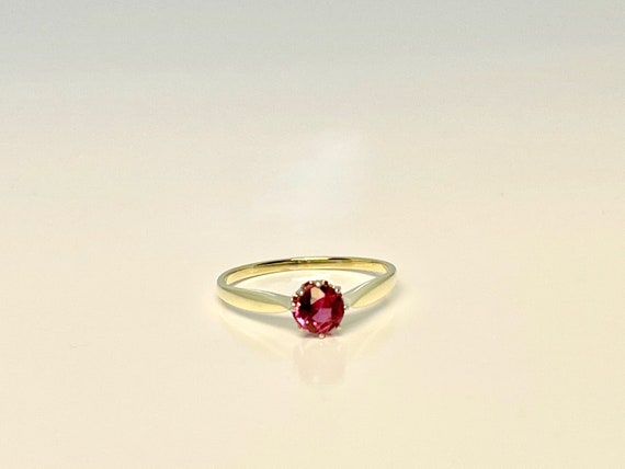 Vintage Yellow Gold Pink Tourmaline Solitaire Rin… - image 2