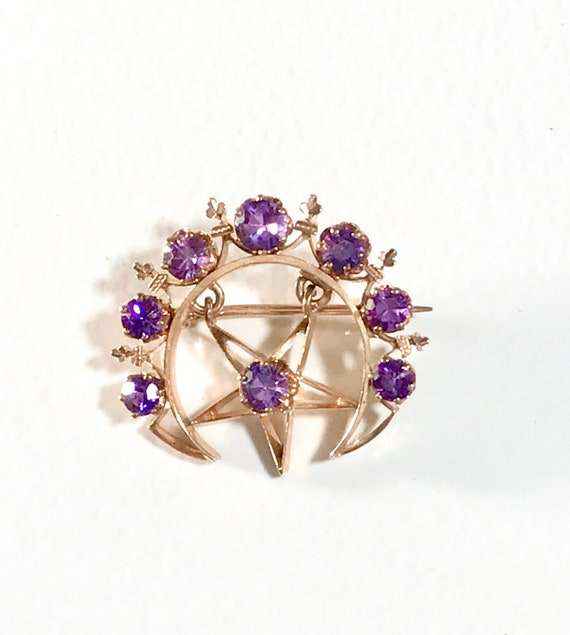 Yellow Gold Amethyst Moon and Star Brooch, Crescen