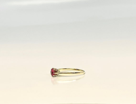 Vintage Yellow Gold Pink Tourmaline Solitaire Rin… - image 5