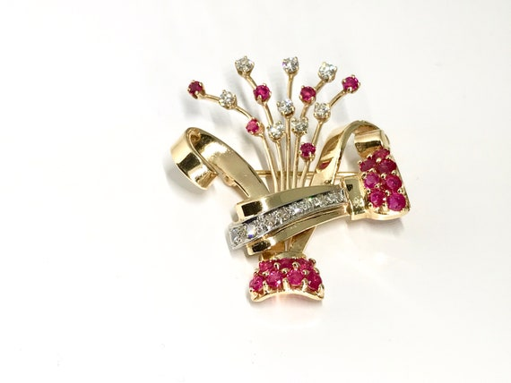 Retro Ruby and Diamond Brooch, Vintage Diamond an… - image 1