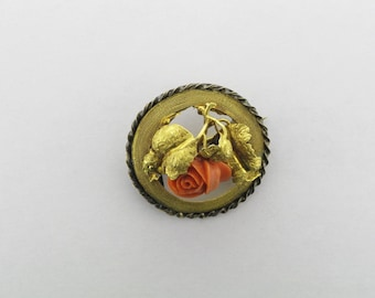 Coral Pin with Carved Coral Rose; Gold Coral Pin; Coral Pin with Braided Gold Mounting; Carved Coral Rose Pin with Textured Leaf