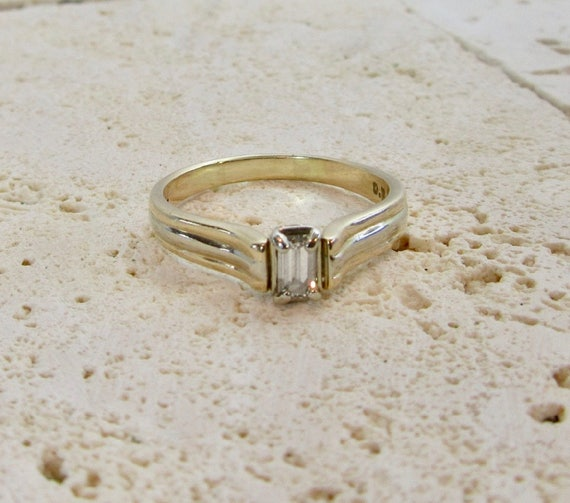 Emerald Cut Diamond Engagement Ring, Diamond Engag