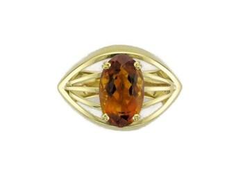 18 Karat Yellow Gold Citrine Ring, Vintage Citrine Ring, Modernistic Ring, Statement Ring, Bohemian Ring, Vintage Jewelry, Citrine Ring