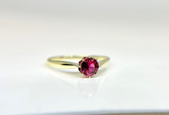Vintage Yellow Gold Pink Tourmaline Solitaire Rin… - image 1