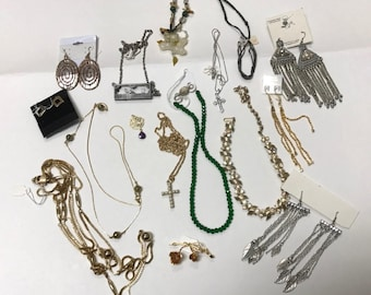 Bag Lot of Bits and Pieces of Costume Jewelry, Earrings, Necklaces, Crosses, Jade Macramé Necklace, Up Cycle Jewelry, Recycle Jewelry