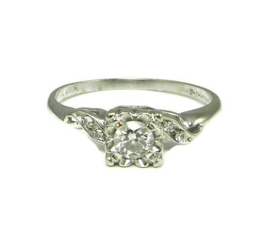 Diamond Engagement Ring; Vintage Diamond Engagemen
