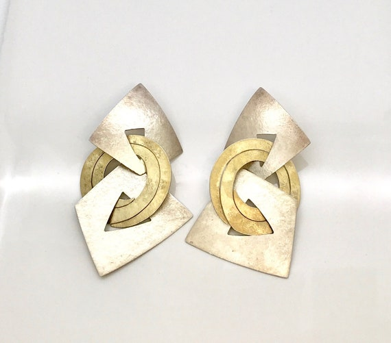 Signed Kanda Sterling Silver and Brass Pierced Ear