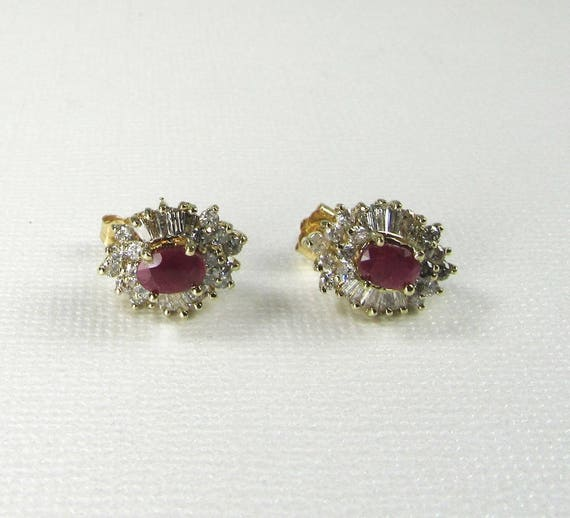 Ruby and Diamond Earrings, Vintage Ruby and Diamon