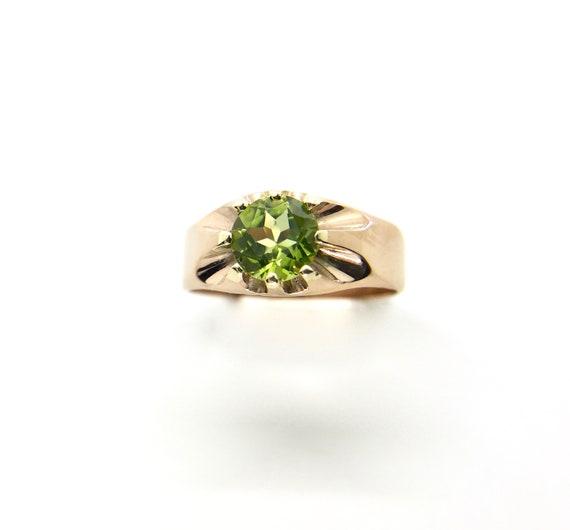 Yellow Gold Peridot Ring, Antique Peridot Ring, Au