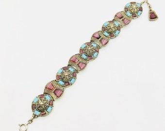 Vintage Miracle Bracelet, Scottish Link Bracelet, Vintage Bracelet, Bracelet with Faux Agate, Fashion Bracelet by Miracle