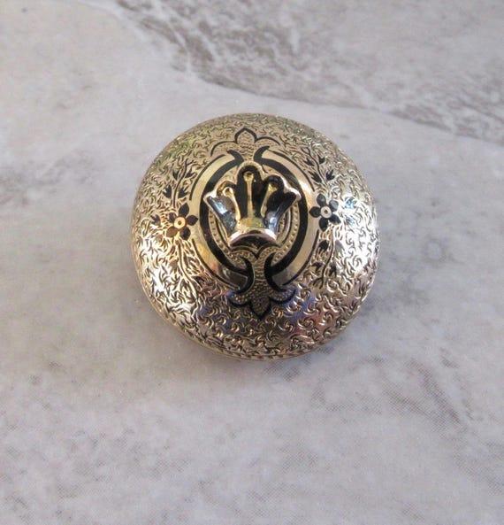 Antique yellow Gold Pin, Watch Pin, Enamel Pin, En