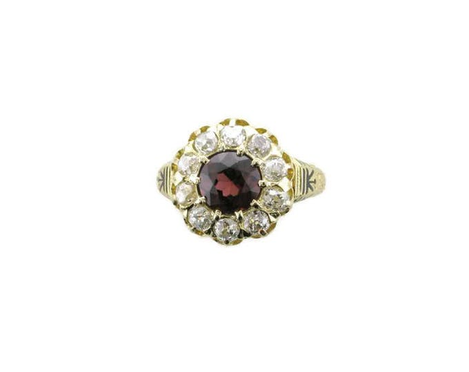 Victorian Garnet and Diamond Ring; Vintage Garnet ring; Garnet and Diamond Cocktail Ring; Antique Garnet and diamond ring