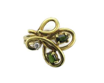 14 Karat Yellow Gold Green Sapphire and Diamond Free Form Ring