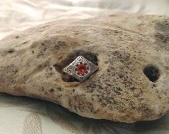 Edwardian White Gold Filigree Orange Sapphire Ring, Orange Sapphire Ring, White Gold Sapphire Ring, Filigree Ring