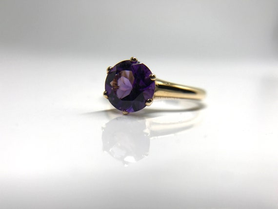 Yellow Gold Amethyst Solitaire Ring, February Birt