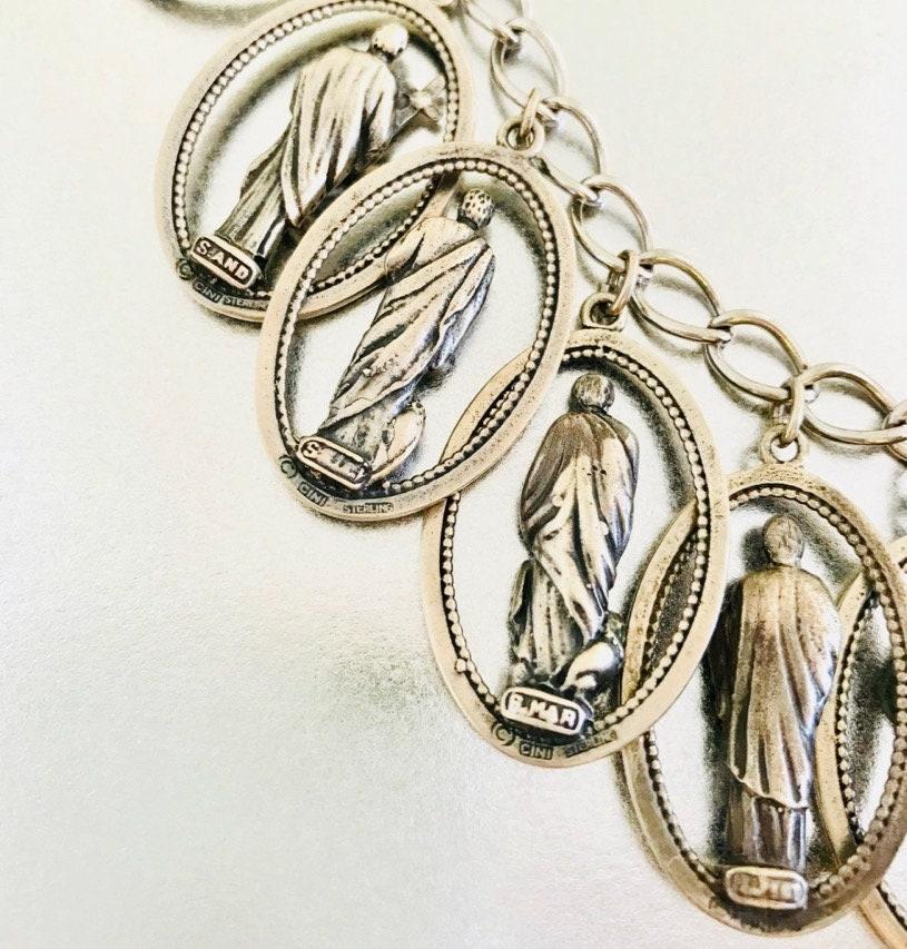 Sterling Silver Twelve Apostle Medallion Charm Bracelet