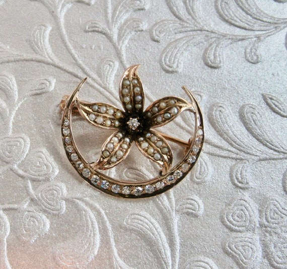 Antique Crescent and Star Pin, Antique Pin, Diamon