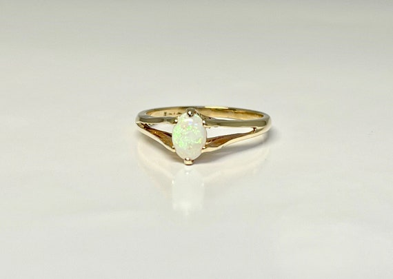 Vintage Opal Ring, Yellow Gold Opal Ring, October