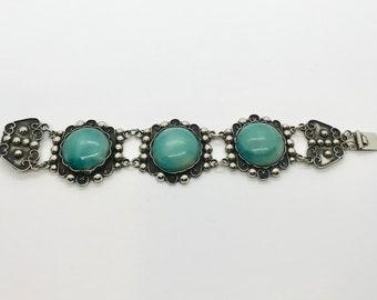 Sterling Silver Bracelet, Bracelet Stamped Mexico 925, Vintage Mexican Bracelet, Wide Mexican Bracelet