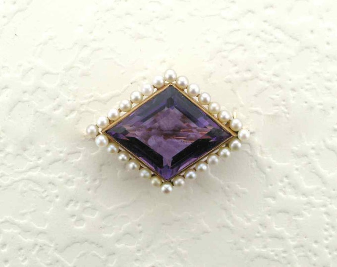 Absolutely Stunning Amethyst and Pearl Pin/Watch Pin in 14 Karat Yellow Gold  Edwardian Period