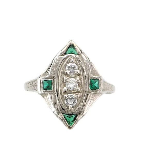 Diamond and Man Made Emerald Filigree Ring; Antiqu