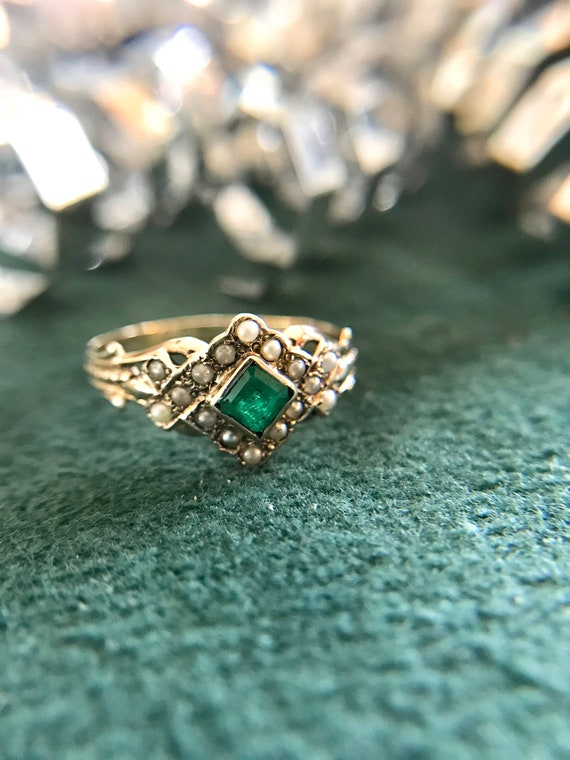 Yellow Gold Victorian Seed Pearl and Emerald Ring,