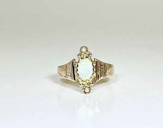 Victorian Yellow Gold Opal and Seed Pearl Ring, Op
