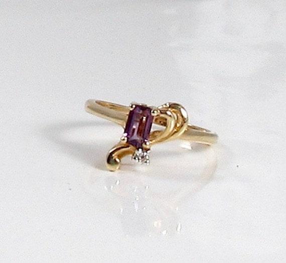 Vintage Amethyst and Diamond Ring; February Births