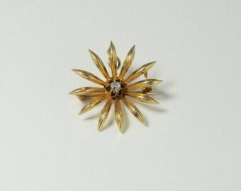 Sunburst Pin/Pendant, Antique Brooch, Brooch or Pendant, Antique Sunburst Pin, Antique Gold Sunburst Pin, Antique Diamond Pin
