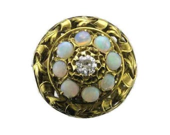Yellow Gold Opal and Diamond Ring in Floral Design, Old European Cut Diamond, Opal and Diamond Ring, Vintage Opal and Diamond Ring