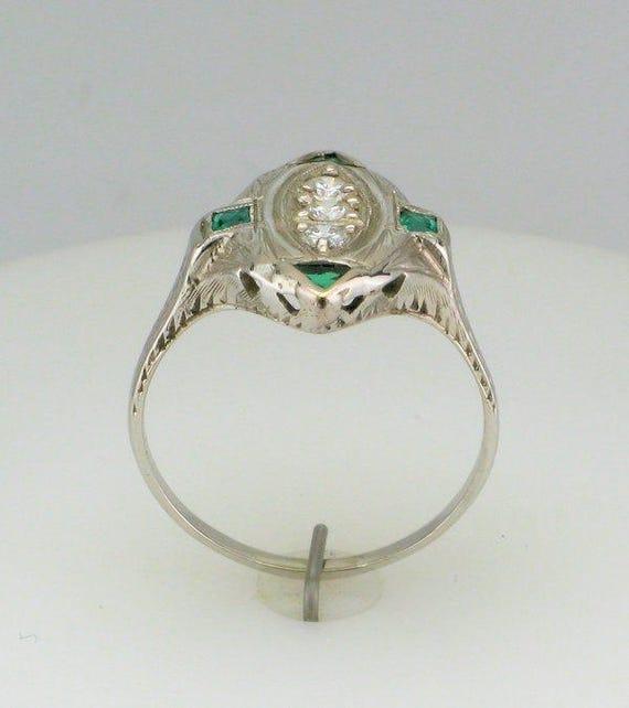 Diamond and Man Made Emerald Filigree Ring; Antiq… - image 3